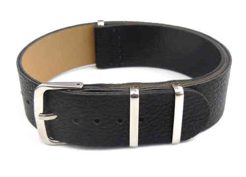 NATO Black Leather Watch Strap