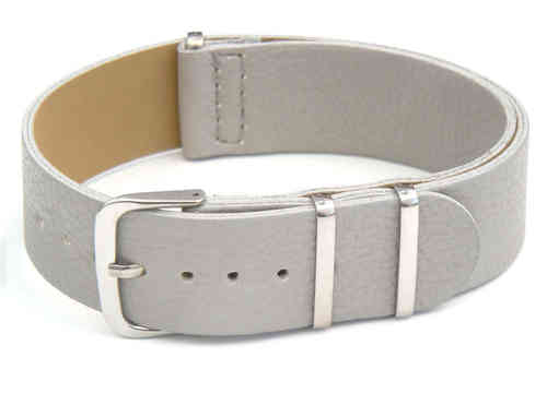 NATO Gray Leather Watch Strap