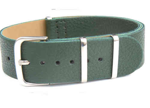 NATO Green Leather Watch Strap