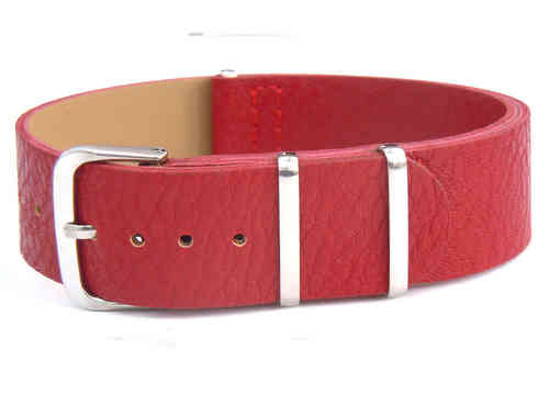 NATO Red Leather Watch Strap