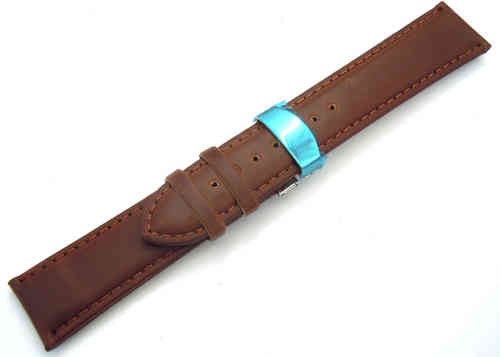 Dark Brown Leather Watch strap on butterfly deployant clasp