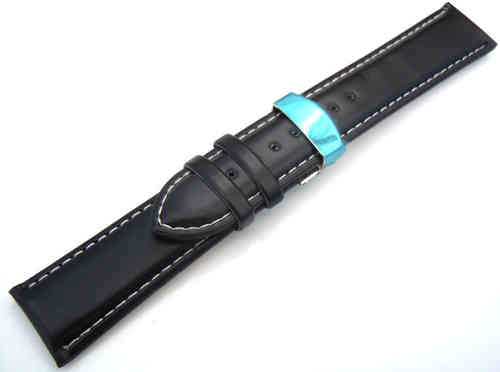 Black Leather Watch strap White Stitching on butterfly deployant clasp