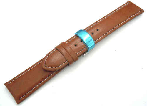 Brown Leather Watch strap White Stitching on butterfly deployant clasp