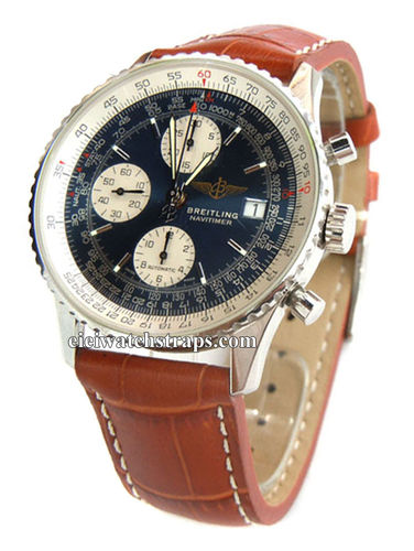 Matt Brown Alligator Grain Padded Leather Watchstrap For Navitimer