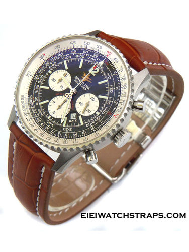 Brown Crocodile Watch Strap Deployment Buckle For Breitling Navitimer
