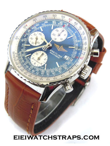 Classic Brown Crocodile Grain Leather Watch Strap Breitling Navitimer