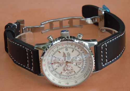 Double Thickness Aviator Hand Made 22mm Black Leather Deployant watchstrap For Breitling Navitimer