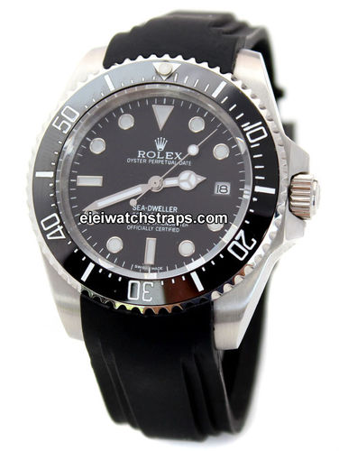 Heavy Duty Marine Silicon Rubber Divers Watch strap with curved lugs For Rolex