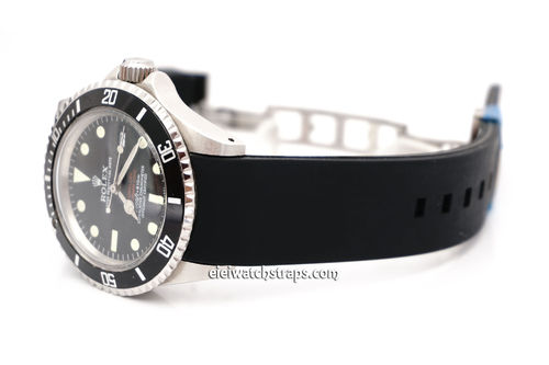 S-Tech Divers Curved Lugs Silicon Rubber Watch Strap Deployment Clasp For Rolex Watches