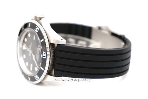 20mm Silicon Rubber Watch strap with Stainless Steel Deployment For Rolex Watches