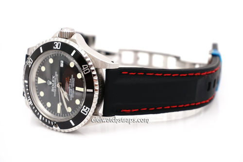 Silicon Rubber Watch Strap With Stitching On Stainless Steel Deployment For Rolex Watches