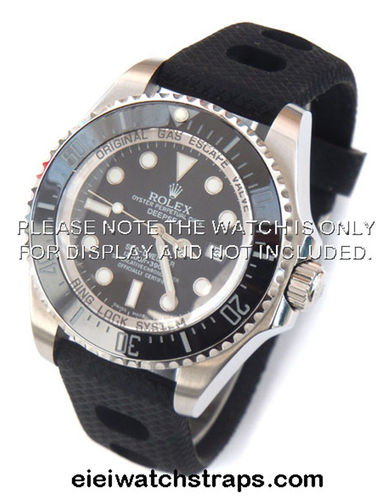 22mm 'Grand Prix' Textured Silicon Rubber Watch Strap Rolex Watches