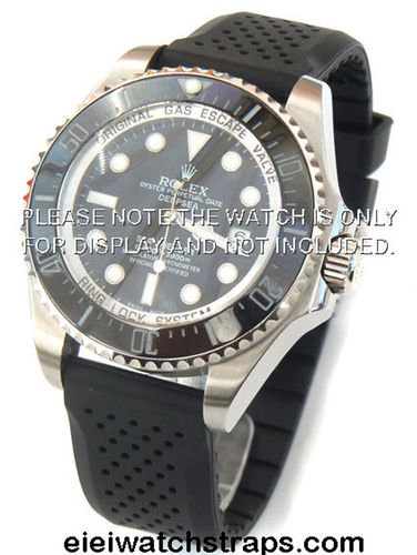 22mm Heavy Duty Silicon Rubber Divers Watch Strap on Stainless Steel Deployment Rolex Watches