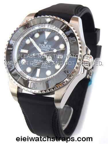 22mm Silicon Rubber Divers Watch Strap on Stainless Steel Deployment For Rolex Watches