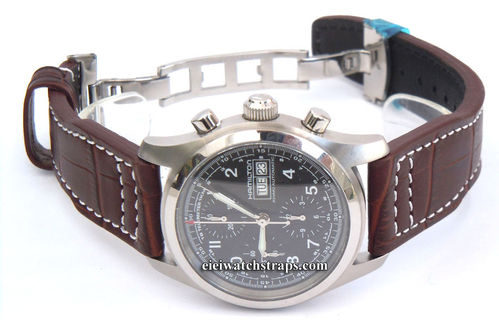 Aviator 22mm Alligator watch strap on Deployment Clasp Hamilton Watches