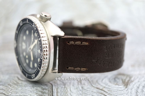 Geneva Hand Made Vintage style Ammo watchstrap For Seiko Watches