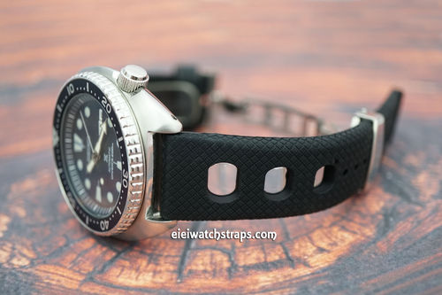 22mm 'Grand Prix' Textured Silicon Rubber Watchstrap Seiko Divers Watches