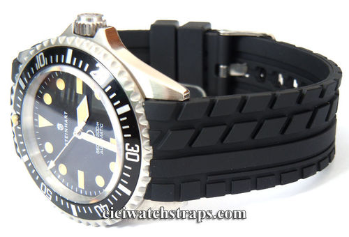 Tyre Tread 22mm Rubber Watchstrap Curved Lugs For Steinhart Watches