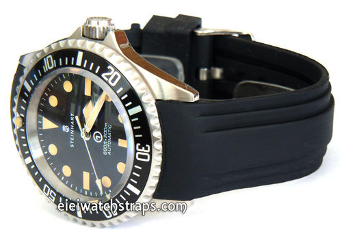 Heavy Duty Marine Silicon Rubber Divers Watch Strap with curved lugs For Steinhart Watches