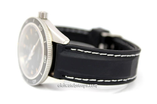 Silicon Rubber Watch Strap With Stitching For Omega Seamaster Professional