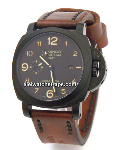 Brooklands Handmade Vintage style Ammo leather watchstrap for Panerai Watches