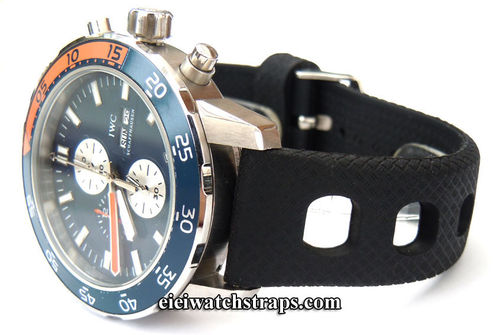22mm 'Grand Prix' Textured Silicon Rubber Watch Strap For IWC Aquatimer Divers Watches