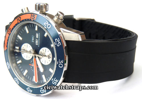 Heavy Duty Marine II 22mm Silicon Rubber Divers Watchstrap with curved lugs For IWC Aquatimer