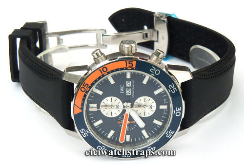 Monza 22mm Silicon Rubber Divers Watchstrap Deployment Buckle For IWC Aquatimer