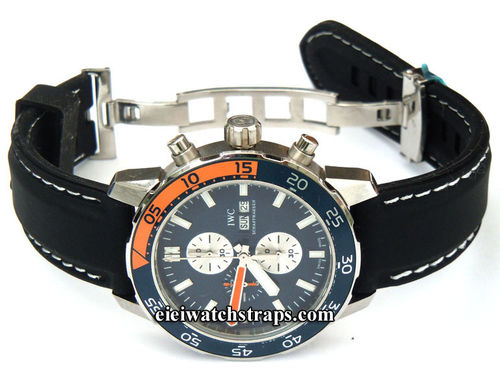 Silicon Rubber Watch Strap With Stitching On Stainless Steel Deployment For IWC Aquatimer