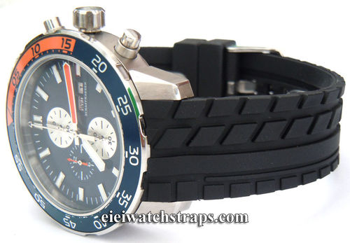 Tyre Tread 22mm Rubber Watchstrap Curved Lugs For IWC Aquatimer