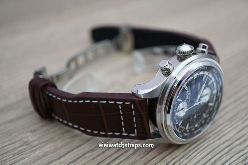 Aviator Hand Made Coffee Brown 22mm Alligator Watchstrap For Ball Watches