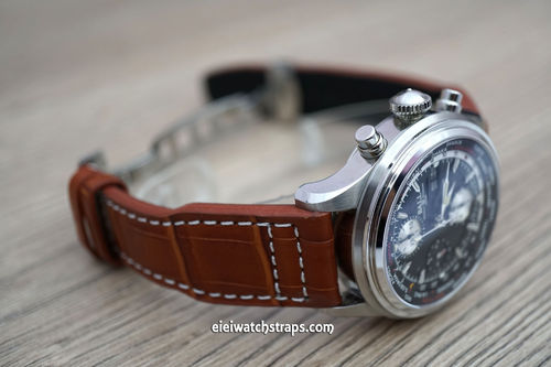 Aviator Hand Made 22mm Brown Alligator Watchstrap For Ball Watches