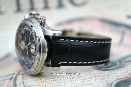 Matt Black Alligator Grain Padded Leather Watch Strap For Ball Watches