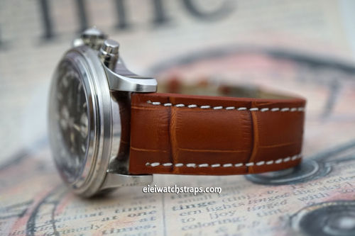 Matt Brown Alligator Grain Padded Leather Watch Strap For Ball Watches