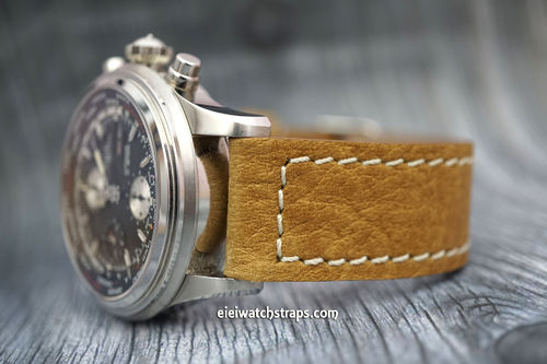 Double Thickness Cut Edge Saddle Brown Leather Watch strap For Ball Watches