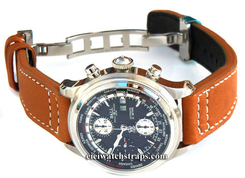 Aviator Hand Made Brown 22mm Calf Leather watchstrap For Ball Watches