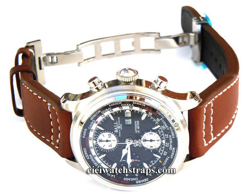 Aviator Hand Made Coffee 22mm Calf Leather watchstrap For Ball Watches