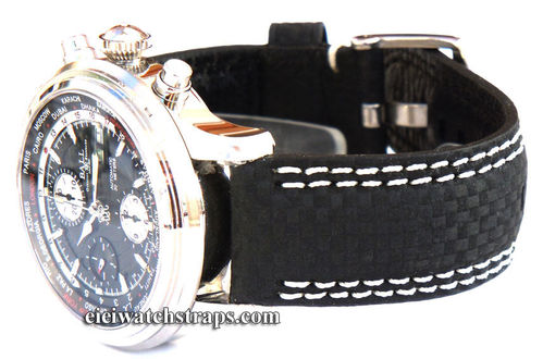 Carbon Fibre 22mm Leather Watchstrap double White Stitching For Ball Watches
