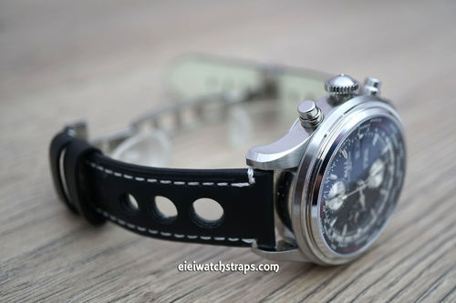 Grand Prix Black Leather Watch Strap on Deployment Clasp For Ball Watches