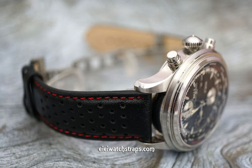 Rally Perforated Red Stitched Leather Watchstrap Deploymnent Clasp For Ball Watches