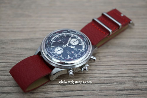 NATO Red Leather Watchstrap For Ball Watches