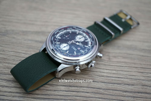 NATO Green Leather Watchstrap For Ball Watches
