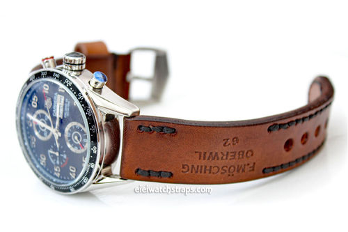 Brooklands Handmade Vintage style Ammo leather watchstrap For TAG Heuer Carrera
