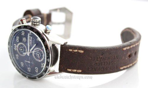 Potter Handmade Vintage style Ammo leather watchstrap for TAG Heuer Carrera