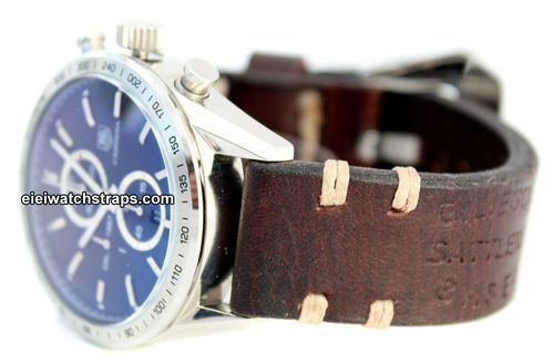 Basel Vintage style Ammo leather watchstrap For TAG Heuer Carrera