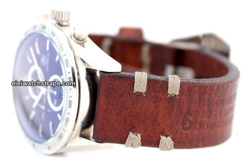 Dom Handmade Vintage style Ammo leather watchstrap For TAG Heuer Carrera