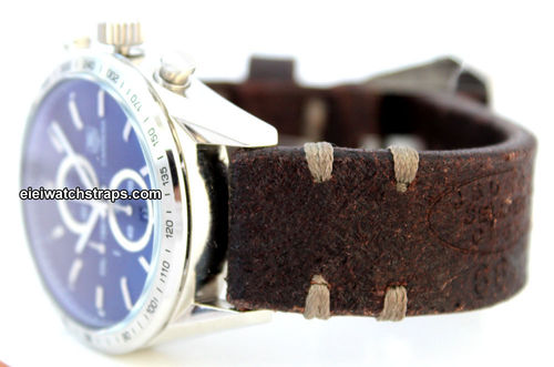Cuyg Handmade Vintage style Ammo leather watchstrap For TAG Heuer Carrera
