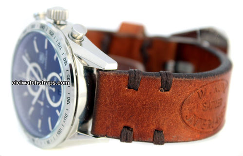 Kunz Handmade Vintage style Ammo leather watchstrap For TAG Heuer Carrera