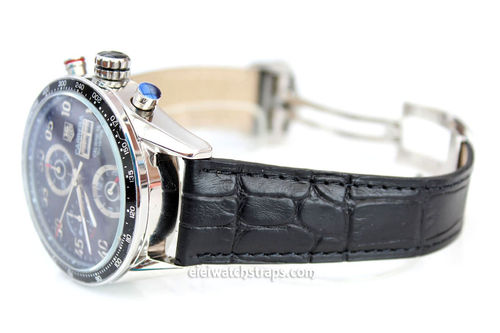 Genuine TAG Heuer Black Crocodile Watch Strap for Deployment Clasp For TAG Heuer CARRERA