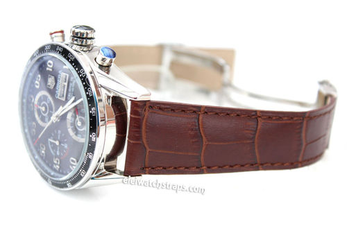 Genuine TAG Heuer Dark Brown Crocodile Watch Strap for Deployment Clasp For TAG Heuer CARRERA